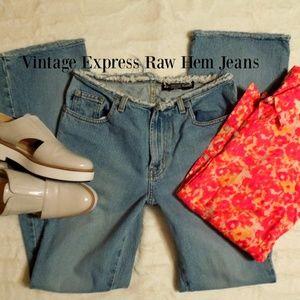 Express Raw Hem Flare Jeans